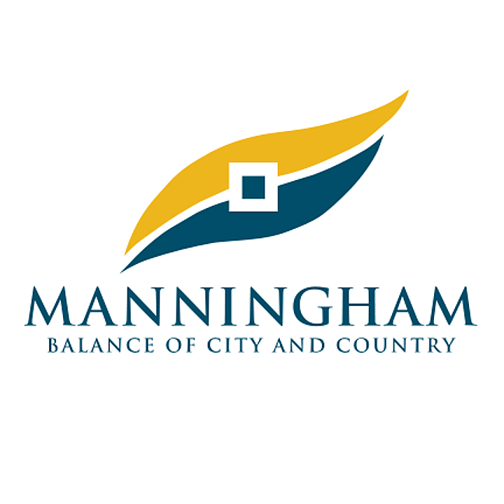 Manningham City Council Logo with a yellow and blue leaf